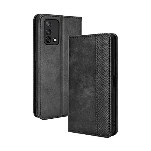 GOKEN Leder Folio Hülle für Oppo A74 4G, Lederhülle Brieftasche Mit Kartensteckplätzen, Premium Flip PU/TPU Handyhülle Schutzhülle Hülle Cover mit Ständer Funktion (Schwarz)