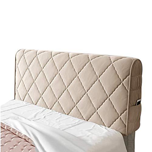 Funda para cabecero de cama individual, doble, king size, elástica, color champán, 200 cm