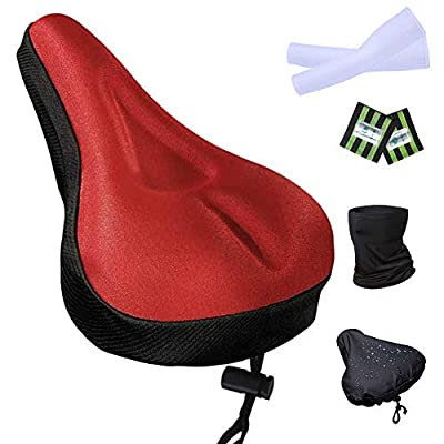 Filmya Gel Bike Seat Cover-Bike Exercise Bike Seat Cushion Cover Bicycle Saddle Pad with Water&Dust Resistant Cover Reflective Band Bandanas for Cycling (red)