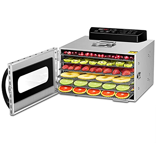 Kwasyo Dörrautomat Edelstahl mit Rezeptheft, 6 Etagen Dörrgerät Temperaturregler von 30-90℃, Timerfunktion von 24h, BPA-frei, Dehydrator für Obst- Fleisch- Früchte-Trockner-Gemüse-Kräuter