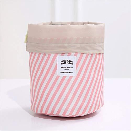 Grande Capacité 1 pcs Femmes cylindre Sac cosmétique Voyage en forme de corde Tirer Organisateur de maquillage Make Sacs Case Up Pouch Wash toilette (Color : Pink Stripes)