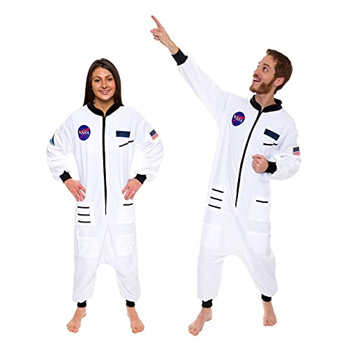 One Piece Astronaut Pajamas - Adult Space Jumpsuit Cosplay Costume by Silver Lilly (White, Medium)