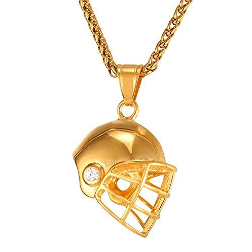 Inveroo Casco Deportivo Colgante Color Oro Gorras de Hockey Collar de Acero...