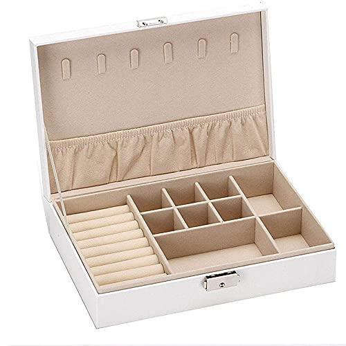 WMYATING Caja de Organizador de joyería, Caja de Almacenamiento Organizador de Pendiente para Mujeres niñas, Soporte para Anillo Pendiente Collar Pulsera (Color : White)