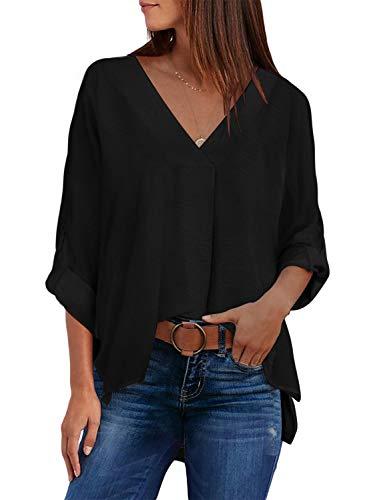 Aleumdr Damen Bluse elegant Langarmshirt Langarm Damen Hemdbluse Chiffon Bluse Damen Schwarz Top Casual T-Shirt V-Ausschnitt Oberteile Schwarz M