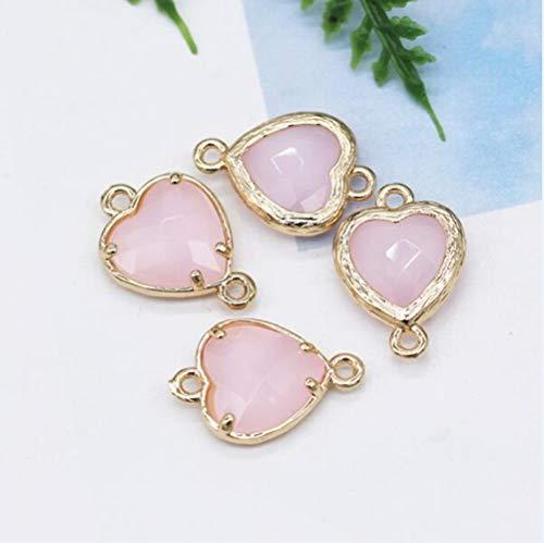 12pcs 10mm Corazón 2-loop Cristal de piedra natural rhinestone Facetado Cuarzo Enmarcado Pulsera colgante collar conector accesorio, jade rosa