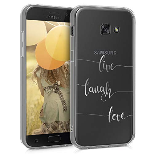 kwmobile Hülle kompatibel mit Samsung Galaxy A5 (2017) - Handyhülle - Handy Case Live Laugh Love Silber Transparent