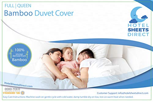 Hotel Sheets Direct 100% Bamboo Duvet Cover 3 Piece Set - Better Than Silk - 1 Duvet Cover, 2 Pillow Shams with Corner Ties and Zipper Closure - Full/Queen, White