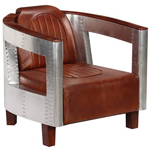 vidaXL Poltrona in Stile Aviatore Design Sobrio Industriale Moderna Relax Sofa Divano Marrone in Vera Pelle e Alluminio