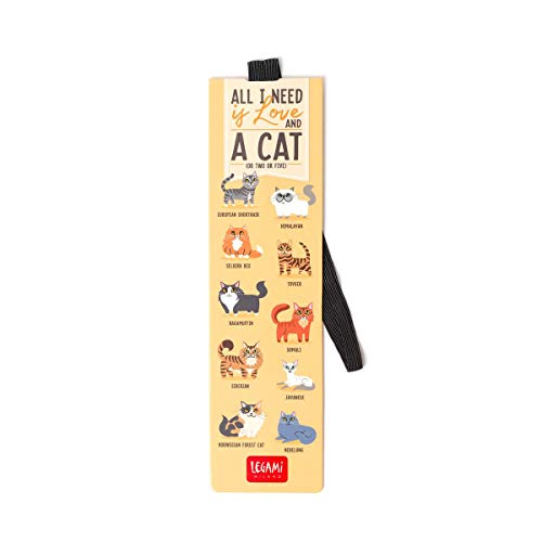 Legami Milano SE0235 - Lesezeichen mit Gummiband - All I need is love and a cat (or two or five)