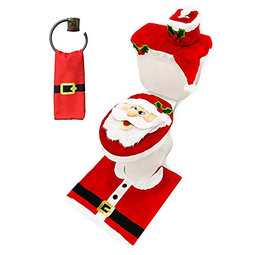 JOYIN 5 Pieces Christmas Santa Theme Bathroom Decoration Set Includes Toilet Seat Cover, Rugs, Tank Cover, Toilet Paper Box Cover and Santa Towel for Xmas Indoor Décor, Party Favors