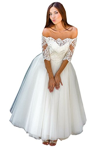 Mollybridal Tea Length Wedding Dress for Bride A line Tulle Off The Shoulder with Sleeves Lace Ivory 22