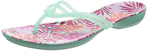 crocs Damen Isabella Graphic Zehentrenner, New Mint/Tropical, 37/38 EU