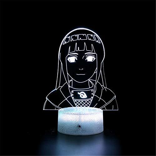 Lámpara de noche 3D Hyūga Hinata para niños, lámpara de ilusión 3D, 16 colores cambiantes acrílico LED noche luz para niños y niñas como cumpleaños o vacaciones