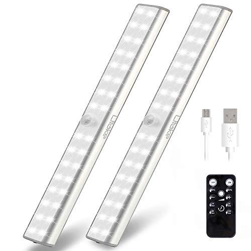 Litake Luz del Armario USB Recargable, 32 LED Luz Nocturna Inalámbrico Control Remoto Ajuste de Brillo Cinta Magnética Minutero Luces LED para Cocina Armario Gabinete Guardarropa, 2 Paquetes