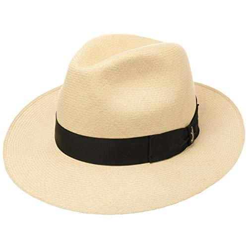 Borsalino Sombrero Bogart Panamá Premium Hombre - de Sol Paja con Banda Grosgrain Primavera/Verano - 57 cm Natural