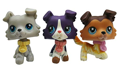 LPSOLD LPS Collie Set 363 1676 58 Raised Paw Grey Purple Brown Blue Eyes Dog Puppy with Accessories Collar Lot Boy Girl Gift Toy Figure 3 PCS
