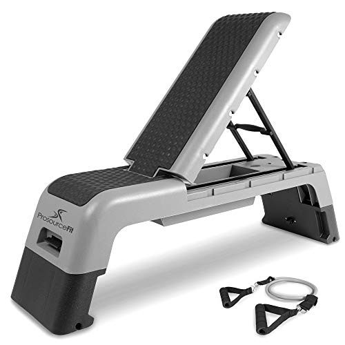 ProsourceFit Fitness Aerobic Deck Stepper with Resistance Band, Multifunctional Workout Bench for Weight Training, Plyometrics for Home Gym (Grey)