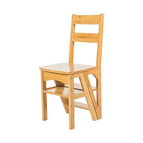 FEI Confortable Chaise pliante en bois Bibliothèque pliante Steps Ladder Chair Utilisation de bureau de cuisine Solide et durable (Couleur : Wood)