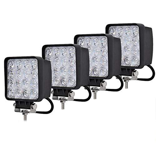 LED Arbeitsscheinwerfer 4x 48W LED Offroad Scheinwerfer 12V 24V Zusatzscheinwerfe Wasserdicht IP67 Abstrahlwinkel 60° Für Trecker Jeep KFZ Bagger SUV UTV ATV