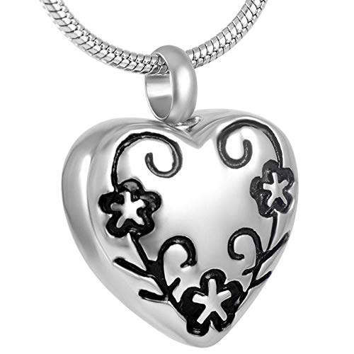 KBFDWEC Encanto del Collar del Recuerdo de la Ceniza Conmemorativa del Acero Inoxidable 316L de Las Mujeres, Colgante de la joyería de la cremación del corazón de la Flor al por Mayor