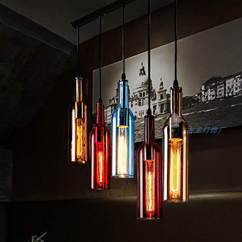 Lámpara colgante de techo de vidrio coloreado 3 luces - Botella de ...
