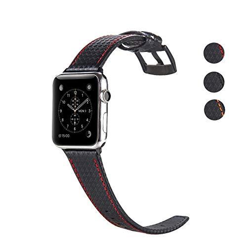 DEALELE Cinturino per iWatch Bracciale di Ricambio in Pelle in Fibra Carbonio, se applicabile Apple Watch Series 4/3 / 2/1, 42mm/44mm, Nero/Rosso