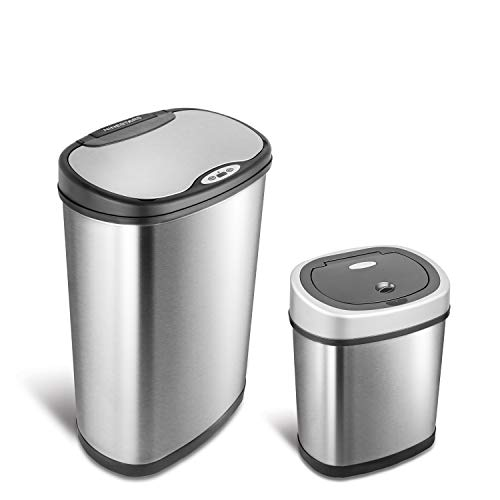 NINESTARS CB-DZT-50-13/12-9 Automatic Touchless Infrared Motion Sensor Trash Can Combo Set, 13 Gal 50L & 3 Gal 12L, Stainless Steel Base (Oval, Silver/Black Lid)