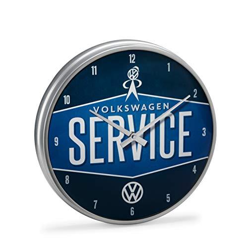 Volkswagen 1H0050810 Wanduhr VW Service Metall, Glas, Blau, 310mm