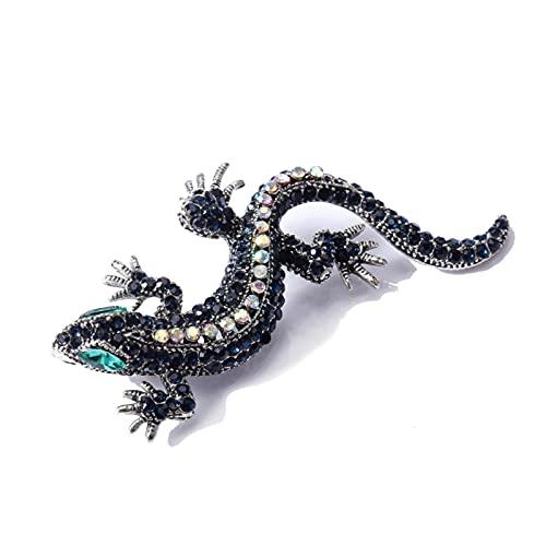 Lagarto Rhinestone Broche Pin Mujer Geckos Animal Pines y Broches Ropa Joyería Metal Vintage