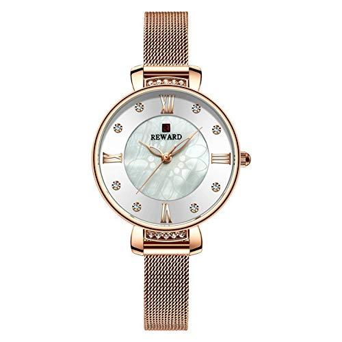 JISHIYU -Q Reloj de lujo de cristal para mujer, vestido de moda, relojes de cuarzo para mujer, correa de malla de acero inoxidable, reloj analógico femenino (color RG blanco)