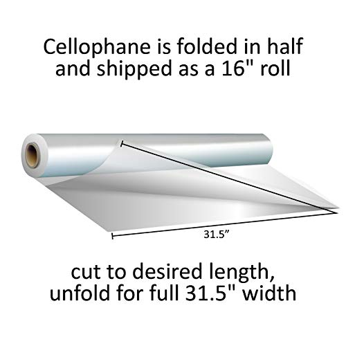 Clear Cellophane Wrap Roll 31.5 Inches Wide 100 Ft Long 1.4 Mil Thick Cellophane Roll for Baskets Gifts Flowers Food Safe Cello Rolls Unfolds to 31.5