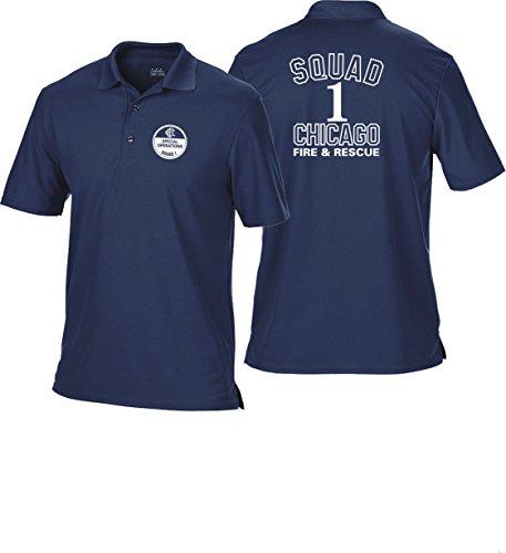 feuer1 Polo Bleu Marine Multifonctions, Chicago Fire Dept. – Squad 1 (Blanc) L Bleu Marine