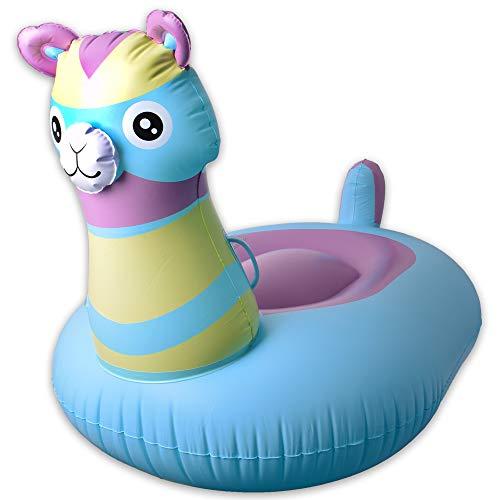 TE-Trend Wasserspielzeug Pool Spielzeug Alpaka Alpaca Lama Luftmatratze Schwimmtiere Wassertiere Pool Tier Aufblasbar 126cm Mehrfarbig