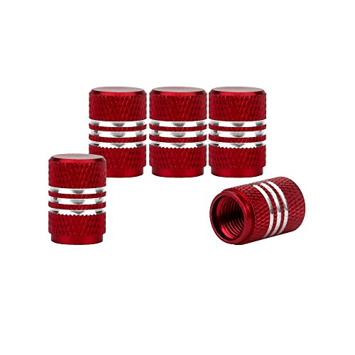 Senzeal 5x Aluminum Alloy Car Tire Valve Stem Caps Round Style Air Covers Red