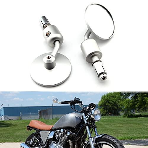 JMTBNO Specchietti Moto Manubrio, Specchietto Laterali Moto, 22mm 7/8' Specchio rotondo Aolly in alluminio per Street Bike Bobber Scooter Cruiser Cafe Racer (Cromo)