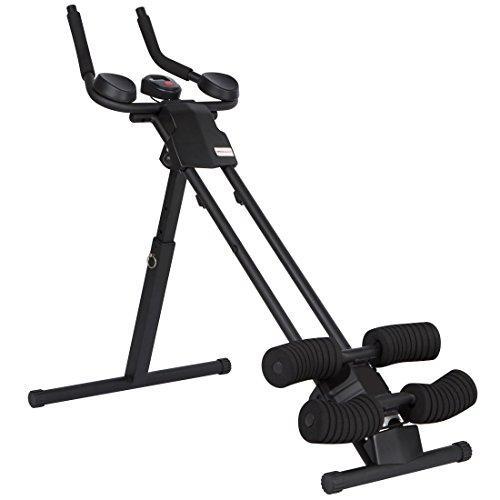 Ultrasport Bauchtrainer Ultra 150 Power AB Trainer, Bauchmuskeltrainer mit Knieauflage, klappbares Fitnessgerät mit Trainingscomputer, 4fach verstellbar, gezieltes Bacuhmuskeltraining