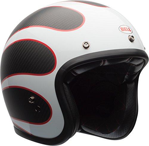 BELL Custom 500 Carbon Helmet Ace Cafe Gloss/Matte White/Black/Red Tonup Small