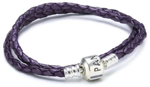 Pandora Damen-Armband Leder lila doppelt gewickelt 35 cm 590705CPE-D1