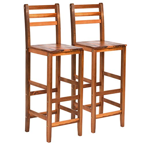 COSTWAY Set of 2 Solid Wood Bar Stool, Counter Height Stool, Acacia Bar Chair Set, with Foot Brace Bar, Protective Backrest, Stable Legs, Ideal for Kitchen, Café, Restaurant, Bar and Outdoor