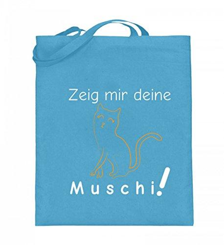Zeig mir deine Muschi (Katze) | Katzenliebhaber Katzenfreunde Katzen-Freunde Geschenk - Jutebeutel (mit langen Henkeln)