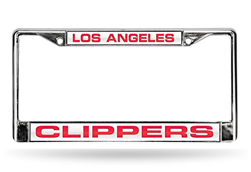 NBA Los Angeles Clippers Laser Cut Inlaid Standard Chrome License Plate Frame, Chrome