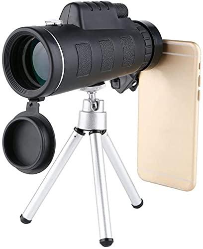 Telescopio monocular 50x60 HD Monocular HD de Alta Potencia con Soporte para teléfono Inteligente Trípode IPX7 IPX7 Monocular Impermeable para observación de Aves Camping Senderismo Caza Excellen