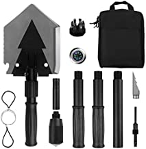 Yeacool Tactical Shovel Military,Survival Folding Spade Multitool,Army Camping Emergency Pickaxe for Car Off-Roading,Entrenching and Metal Detecting