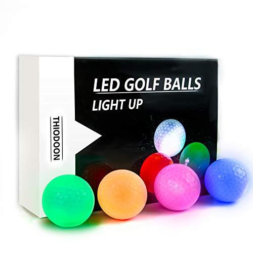 GOANDO 6 Stück Golfbälle LED Light Up Golfbälle Nachtgolfball Offizielle Größe Glow In Dark Perfekt für Golf-Langstreckenschüsse Multi Farben von Blau, Gelb, Rot, Weiß, Grün, Pink für Ihre Wahl