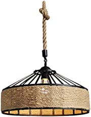 Lurrose Land Hennep Touw Stijl Hanglamp Cover Shade Industriële Kroonluchter Eiland Licht Plafondlamp Schaduw voor Restaurant Cafe Bars Decor Lamp Niet Inbegrepen