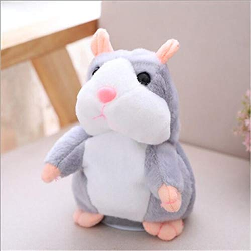 Decanyue 15cm Talking Hamster Falante Mouse Pet Plush Toy Cute Talking Sound Record Educational Stuffed Doll Children Gifts Grey