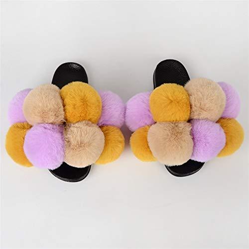 FWKTG Peludo Pantuflas Mujer Sandalias Zapatilla Casa Zapato Antideslizante Mujer Slippers Interiores y Exteriores (Color : P, Size : 36eu)