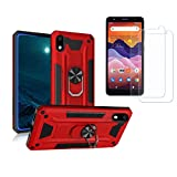 [2-Pack] Tznzxm Screen Protector for ZTE Avid 579 Tempered Glass,ZTE Avid 579 Case, [ Military Grade ][Metal Ring Grip ][Magnetic Car Mount] Kickstand Protective Shockproof Case for ZTE Blade A3 2020