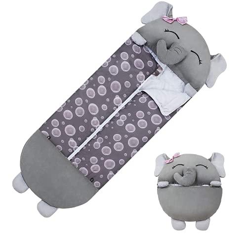 Aujelly Saco de dormir cálido para niñas con almohada de dinosaurios y dibujos animados, para niños y niñas